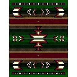 Green Southwestern Stripe Rug (8' x 11')