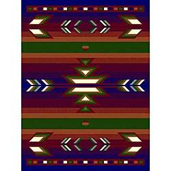Navy Southwestern Stripe Rug (5' x 8')