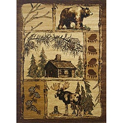 Lodge Brown Patterned Area Rug (8' x 11')