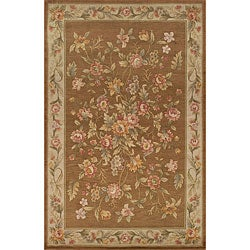 Hand-knotted Brown Wool Rug (5'6 x 8'6)