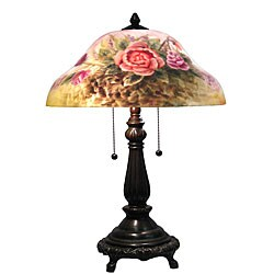 Reverse Painted Pairpoint Style Rose Table Lamp Overstock 4847120