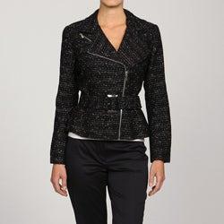 Katherine New York Women's Asymmetrical Tweed Moto Jacket - Thumbnail 0