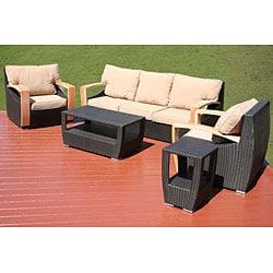Shop Barcelona 5-piece All-weather Wicker Patio Furniture ... on Safavieh Outdoor Living Granton 5 Pc Living Set id=88907