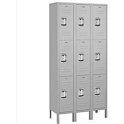 Salsbury Industries Grey 6-foot Triple-tier Standard Lockers