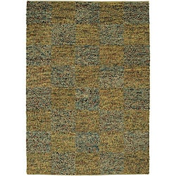 Hand-woven Gold Shag Rug (7'9 Round)