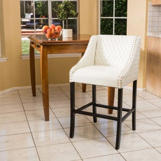 Milano Ivory Quilted Bonded Leather Barstool by Christopher Knight Home