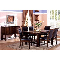 Furniture of America Walwick 7-piece Marble Inserts Tobacco Oak Dining Set