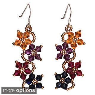 Handmade Sterling Silver Multi-colored Crystal Flower Earrings (USA)