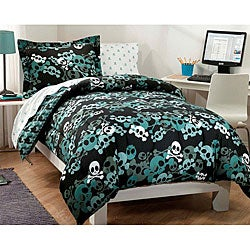 Skulls 5 Piece Twin Size Bed In A Bag With Sheet Set
