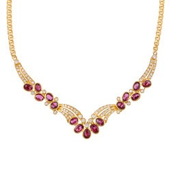 Kabella 18k Yellow Gold Ruby and 1 3/4ct TDW Diamond Necklace (H-I, VS1-VS2)