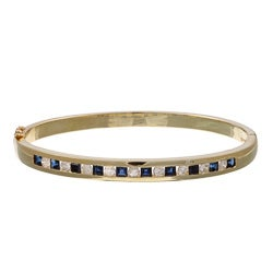 Kabella 14k Yellow Gold Sapphire and 7/8ct TDW Diamond Bangle (I-J, I2-I3)