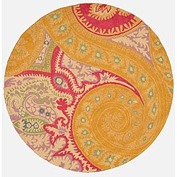 EORC Hand-tufted Wool Orange Paisley Rug (6' Round)