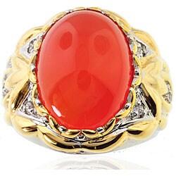 Michael Valitutti Two-tone Mandarin Chalcedony and White Sapphire Ring
