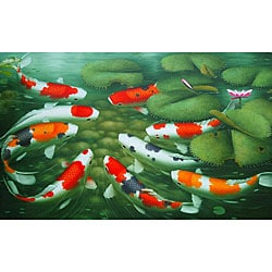 Handmade Oil on Canvas Large Koi Fish Painting (Indonesia)