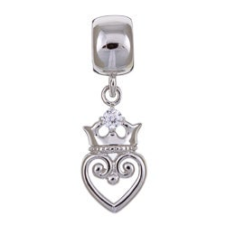 Signature Moments Silver Royal Heart Cubic Zirconia Charm Bead