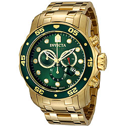Invicta Men's Pro Diver Green Dial 18k Gold Chronograph Watch
