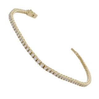 NEXTE Jewelry 14k Gold Overlay Clear Cubic Zirconia Micro Tennis Bracelet