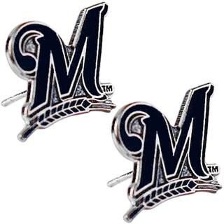 Milwaukee Brewers 'M' Post Stud Logo MLB Charm Earring Set