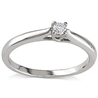 Miadora Sterling Silver 1/10ct TDW Diamond Solitaire Promise Ring