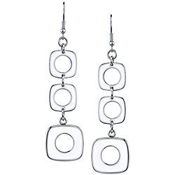 Stainless Steel Square Dangling Earrings
