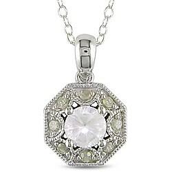 Miadora Silver Created Sapphire and 1/8ct TDW Diamond Necklace (H-I, I3)