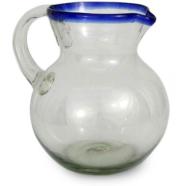 Cobalt Ring' Handmade Glass Pitcher (Mexico)