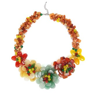 Handmade Multicolor Flower Garland Necklace (Thailand)