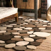 nuLoom Brown/Natural Wool Handmade Stones and Pebbles Rug (5' x 8')