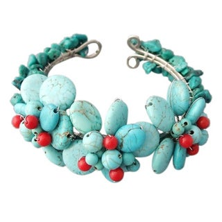 Handmade Turquoise and Coral Triple Flower Cluster Cuff Bracelet (Thailand)