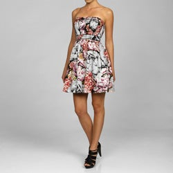 Jessica Simpson Women's Corsetted Floral Strapless Dress - Thumbnail 0