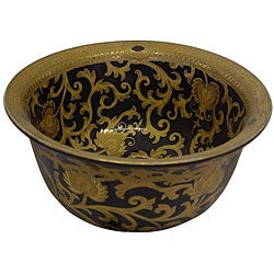 Black/ Gold Scrolls Porcelain Bowl
