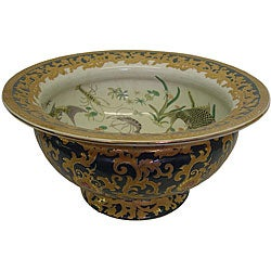 Porcelain Green and Gold Bowl
