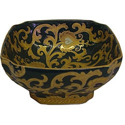 Porcelain Green and Gold Scrolls Square Bowl