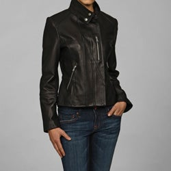 IZOD Women's Plus Size Leather Moto Jacket. Opens flyout.