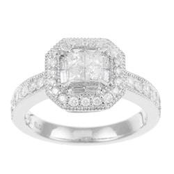 14k White Gold 3/4ct TDW Diamond Engagement Halo Ring (H-I, I1-I2)