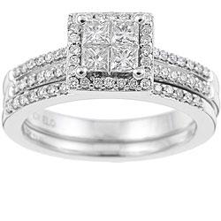 Eloquence 10k White Gold 3/4ct TDW Diamond Bridal Ring Set