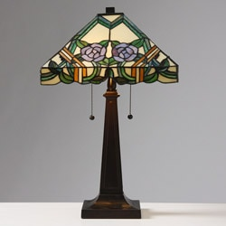 Tiffany-style Rose Mission Table Lamp