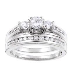 14k White Gold 1ct TDW Certified Diamond Bridal Ring Set