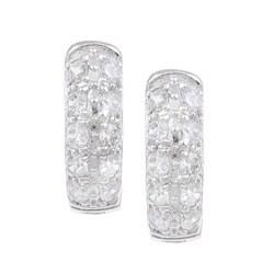Sterling Essentials Sterling Silver Pave Cubic Zirconia Hoop Earrings