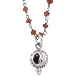 Lola's Jewelry Sterling Silver Garnet 'Yin-yang' Necklace