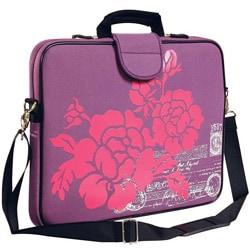 Thumbnail 1, Fuji Depot 17-inch 'Purple Hibiscus' Handled Laptop Sleeve.