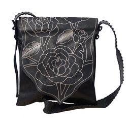 Handmade Genuine Leather Rose Messenger Bag (Indonesia)