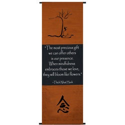 Cotton Mindfulness Symbol and Thich Nhat Hanh Quote Scroll, Handmade in Indonesia