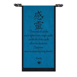 Handmade Cotton Happiness Buddha Quote Scroll (Indonesia)