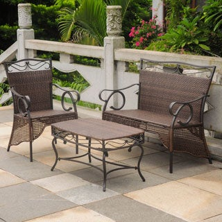 International Caravan Valencia Resin Wicker Settee Group (Set of 3)