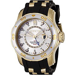 Invicta Men's 6995 'Pro Diver' GMT Black and Gold-Tone Polyurethane and Stainless Steel Watch