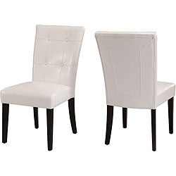 Button-tufted White Parsons Chair (Set of 2)
