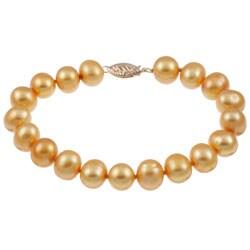 "DaVonna 14k Yellow Gold 9-10mm Gold Freshwater Pearl Bracelet, 8"""