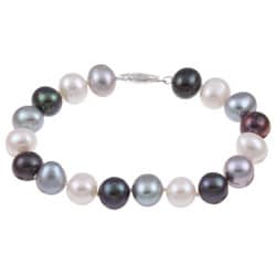 Sterling Silver Multi-Colored Freshwater Pearl Bracelet (9-10mm)