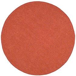 Martha Stewart Sprig Begonia Orange Cotton Rug (6' Round)